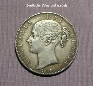 1847 QUEEN VICTORIA YOUNG HEAD CROWN - Cinquefoil Stops - HIGH GRADE
