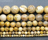 Natural Picture Jasper Gemstone Round Beads 2mm 4mm 6mm 8mm 10mm 12mm 14mm 16''