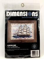 Dimensions ~ CLIPPER SHIP ~ Rare Counted Cross Stitch Kit #6658 sail nautical