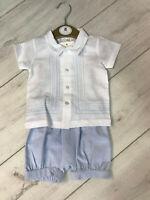Baby Boys Newness Spanish Navy Blue Shorts and White Collarless Shirt Set