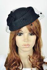 Bow & Lace 100% Wool Elegant Lady Women Dress Formal Church Hat Fedora Cap Black