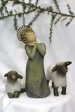 3 pc set Angel + 2 sheep shepherd statue figure Willow Tree shephard manger