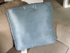 "17"" x 3""  Square Blue Box Seat Cushion Pillow Polyester Silk Like"