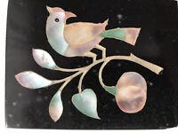 "Antique Pietra Dura Mosaic Inlay Stone Parrot Bird Figure MOP Onyx Plaque  3.5"""