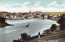 Enniskillen  Ireland birds eye view boat on river antique pc Z16707