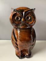 Vintage Owl Ceramic Canister, Cookie Jar, Brown- Holiday Designs
