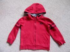 Boys fleece.Red.5-6 years.Debenhams.Zip front.Hooded.Two pockets.Cotton mix.VGC.