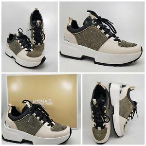 Michael Kors Cosmo Trainer Womens Size 8 Glitter Chain Mesh Black Gold