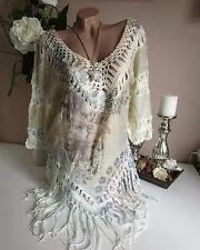Hippie Fringes Tunic Crochet Beige Flowers Boho Ibiza Style 36-40 Vintage Goa