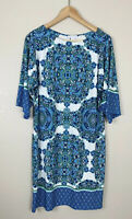 London Times Womens 8 Printed  Shift Dress 3/4 Sleeves Blue Green White