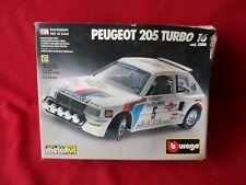 Vintage 1980's Burago Bburago Peugeot 205 Turbo 16 Rally Car Model Kit - Boxed