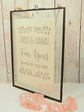 Printed Linen in Vintage Glass Frame 4th Wedding Anniversary Gift Personalised