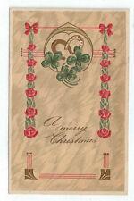 "Vintage Postcard ""A merry Christmas"" Horseshoes Four Leaf Clovers Germany 7263"