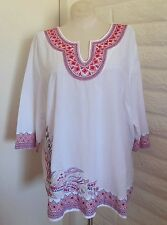 Catherines 14W 16W White Coral Embroidery Border Print 3/4-Sleeve Blouse Tunic