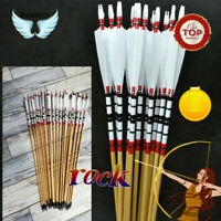 3/6/12x 80cm Handmade Wooden Arrows BoltsTurkey Feather For 25-50lbs Recurve Bow