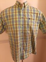 Men's WRANGLER WESTERN Large Short Sleeve S/S George Strait Green Plaid- Stained