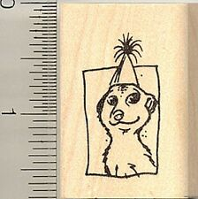 Small Party hat Meerkat rubber stamp C9604 Wood Mounted