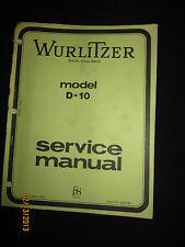 Wurlitzer Organ Model D-10 Service Manual Schematics Parts List Factory OEM