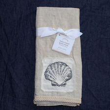 Pottery Barn Neasa Coastal Linen Guest Towels Set of 2 seashell seahorse natural