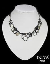 Luxus Statement Kette Halskette Collier  Ikita Paris Emaille Metall Perlmutt