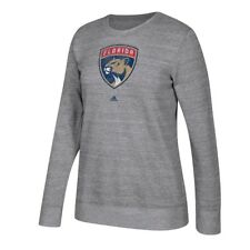Florida Panthers Adidas Team Logo Graphite Heather Comfy Crew Sweatshirt Women's