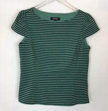 Nine West Black and Green Striped Top Size 8