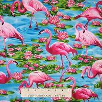 Nautical Fabric - Tropical Flamingo Scene Aqua - Timeless Treasures YARD