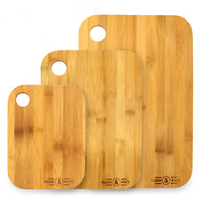 Bamboo 3x Chopping Board Set | 3 Piece Wooden Set | For All Food Types | M&W