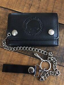 Harley Davidson Willie G Skull Tifold Black Leather Biker Wallet & Key Chain
