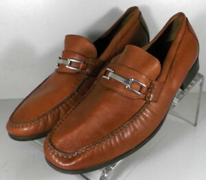 205890 DF50 Men's Shoes Size 10.5 M Dark Tan Leather Slip On Johnston & Murphy