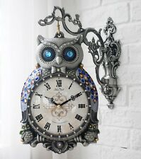 Antique Luxury Blue Owl Double Sided Wall Clock Home Decor Station Clock Gift