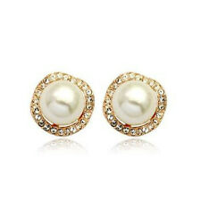 ITALINA 18K ROSE GOLD PLATED GENUINE CUBIC ZIRCONIA AND PEARL STUD  EARRINGS