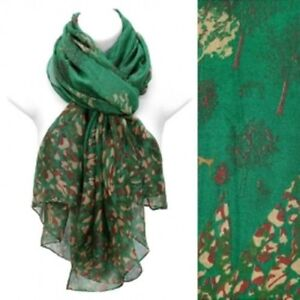 Nature Print Scarf Lightweight Green Wrap Fashion Accessory 39 x 71 inches