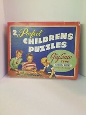 Vintage - 2 PERFECT Jigsaw 1930s/40s Art Puzzles COMPLETE! Animals dogs bugs