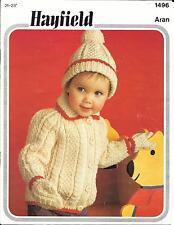 "Hayfield1496 Vintage Knitting Pattern Cardigan & Hat, Aran 21-23"" 18m - 3 years"