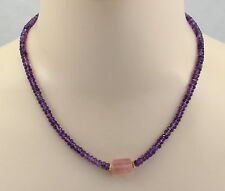 Amethyst-Kette  - facettierte lila Amethyste mit Rosenquarz Halskette 47,5cm