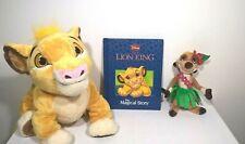 "Disney / The Lion King - 12"" Simba / 8"" Hula Timone - Plush / Soft Toys + Book"