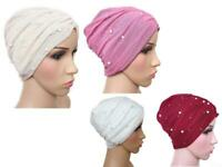 Pretty Turban hats net and pearl hijab cap occasion party chemo eid