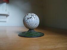 ANTIQUE CAST IRON GOLF BALL PAPERWEIGHT OVER 100 YRS OLD GREEN GRASS BASE