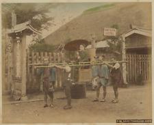 Japon, Kago Travelling Chair  Vintage albumen print.  Tirage albuminé aquarell