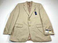 Chaps 42R Men's Cotton Khaki 2-Button Blazer Sport Coat Jacket NEW NWT