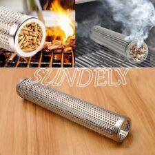 x1 Round Smoker Wood Pellet BBQ Grill Hot Cold Smoke Generator Smoking Mesh Tube