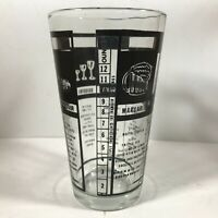 Vintage Clear Glass Black Print 12 Bartender Barware Recipe Glass