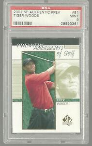 2001 SP Authentic Preview Upper Deck #51 Tiger Woods Rookie Card RC PSA 9 Mint