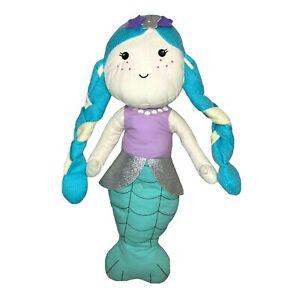 Mermaid Green Rag Doll Soft Plush Stuffed Fish Animal Toy Sewn Eyes Braided Hair