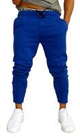 MENS ROYAL BLUE SKINNY TRACK PANTS SKINNY LEG JOGGERS TRACKIES CUFF PANTS GYM