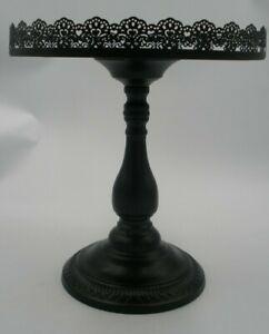 "Black Lace Trim Metal Cake Plate Stand 13x12"" Wedding Cupcakes Tray Single Tier"