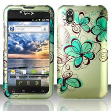 For LG Marquee Rubberized HARD Protector Case Snap on Phone Cover Azure Flowers