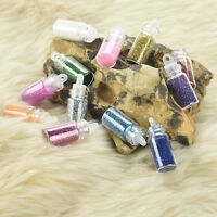 12 Mini BottleSet Glitter Nail Art Powder Tips Rhinestone Decoration Manicure