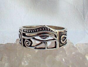925 Silver Eye of Horus Ankh Ring Ankh Key of Life Egyptian Pagan Protection